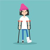 Disabled brunette girl on crutches with broken leg