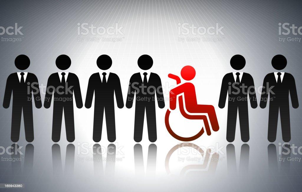 Disabled Business Concept Stick Figures vector art illustration