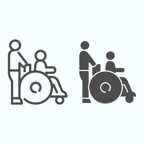 Disabled carriage line and solid icon. Medical transportation vector illustration isolated on white. A man pushing a wheelchair with a patient outline style design, designed for web and app. Eps 10. Disabled carriage line and solid icon. Medical transportation vector illustration isolated on white. A man pushing a wheelchair with a patient outline style design, designed for web and app. Eps 10 paraplegic stock illustrations