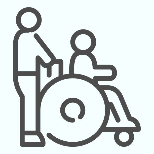 Disabled carriage line icon. Medical transportation vector illustration isolated on white. A man pushing a wheelchair with a patient outline style design, designed for web and app. Eps 10. Disabled carriage line icon. Medical transportation vector illustration isolated on white. A man pushing a wheelchair with a patient outline style design, designed for web and app. Eps 10 paraplegic stock illustrations