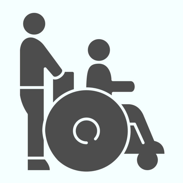Disabled carriage solid icon. Medical transportation vector illustration isolated on white. A man pushing a wheelchair with a patient glyph style design, designed for web and app. Eps 10. Disabled carriage solid icon. Medical transportation vector illustration isolated on white. A man pushing a wheelchair with a patient glyph style design, designed for web and app. Eps 10 paraplegic stock illustrations