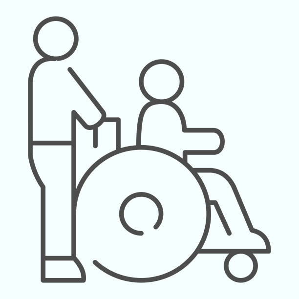 Disabled carriage thin line icon. Medical transportation vector illustration isolated on white. A man pushing a wheelchair with a patient outline style design, designed for web and app. Eps 10. Disabled carriage thin line icon. Medical transportation vector illustration isolated on white. A man pushing a wheelchair with a patient outline style design, designed for web and app. Eps 10 paraplegic stock illustrations