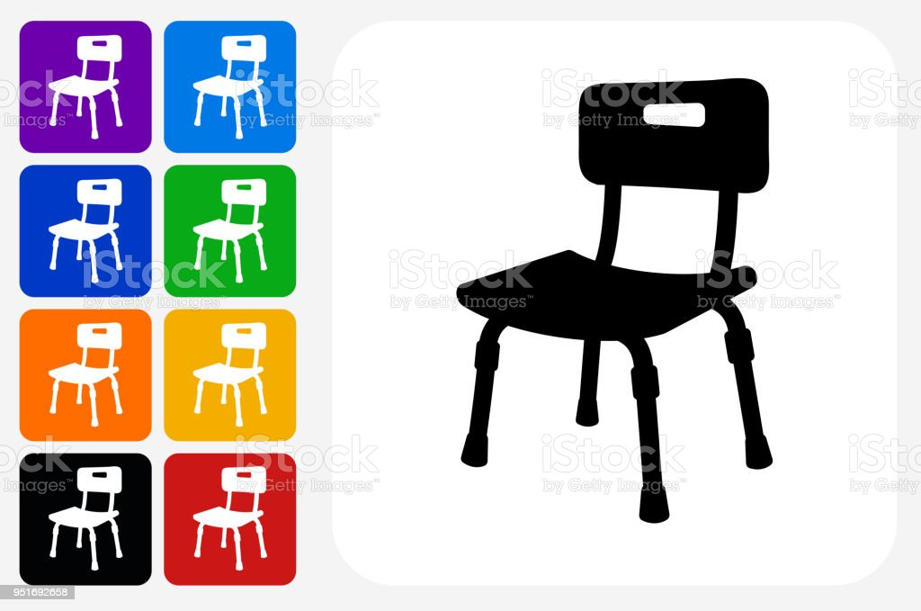 Disabled Chair Icon Square Button Set Stock Vector Art & More Images ...