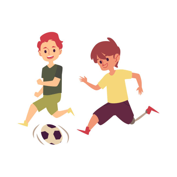 Best Two Football Boys Isolated Illustrations, Royalty ...