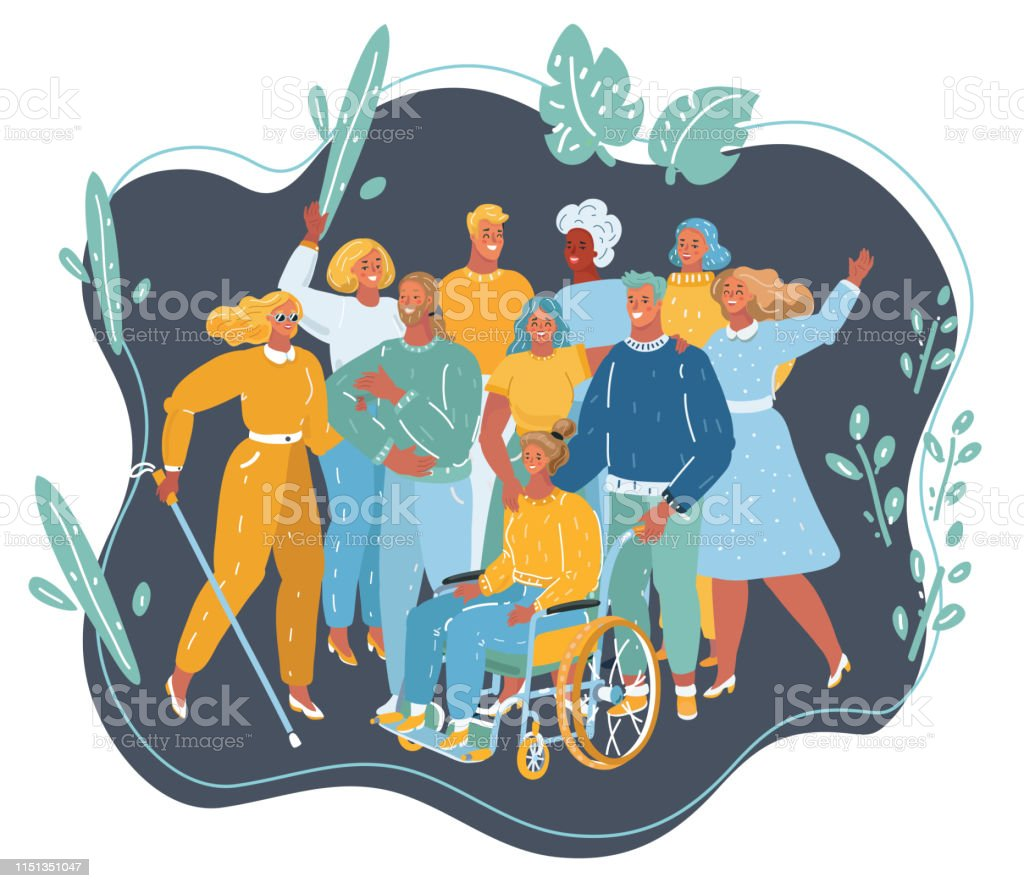 Vector cartoon illustration of disabled people get together. Disabled...