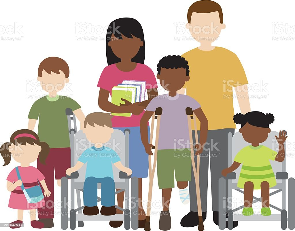 disabled children with friends and teacher vector art illustration