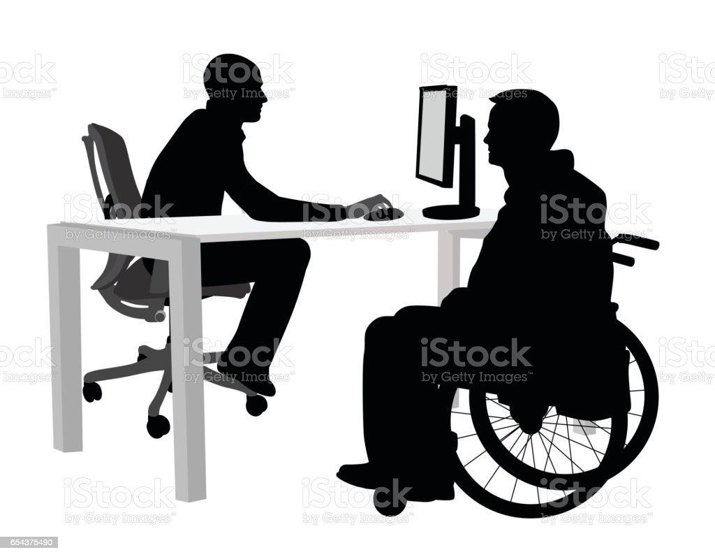Disabled Client At The Office vector art illustration