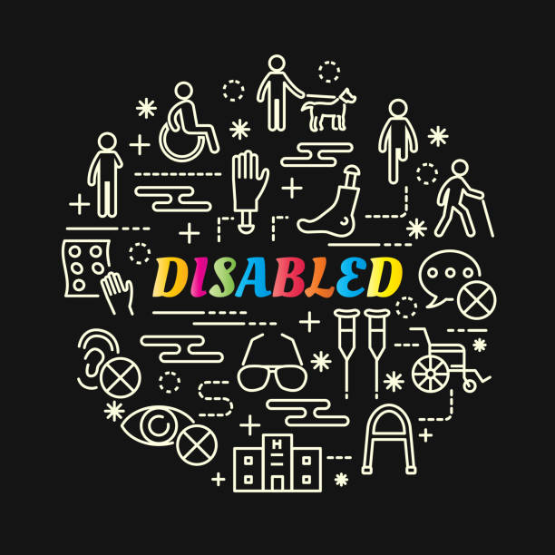 disabled colorful gradient with line icons set - old man sunglasses stock illustrations, clip art, cartoons, & icons