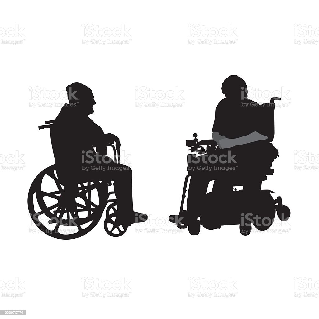 Disabled Elderly Friends - ilustración de arte vectorial