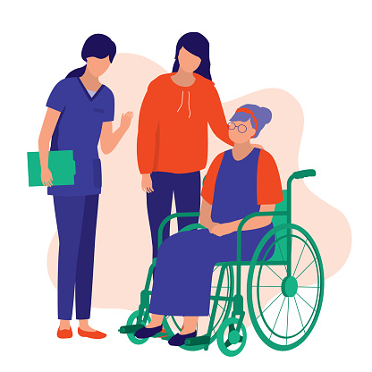 Disabled Elderly Woman And Her Grandchildren Visiting Nursing Home. Nursing Home Concept. Vector Illustration Flat Cartoon.