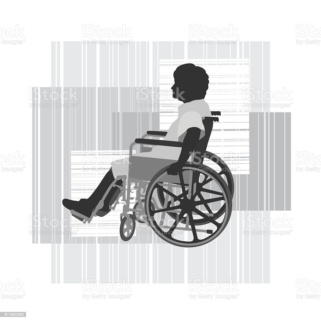 Disabled Elderly Woman In Wheelchair Vector Silhouette - ilustración de arte vectorial