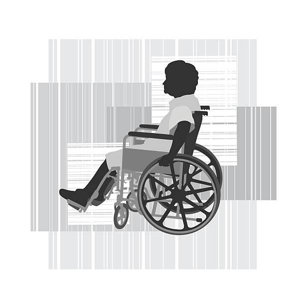 disabled elderly woman in wheelchair vector silhouette - 老年医学点のイラスト素材/クリップアート素材/マンガ素材/アイコン素材