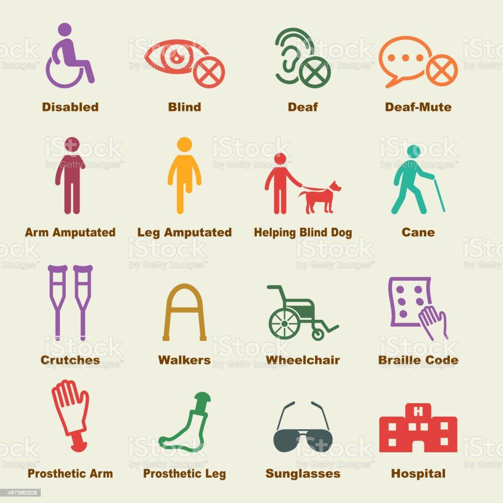 disabled elements vector art illustration
