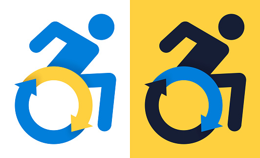 Disabled empowerment wheelchair speed fast arrow symbol.