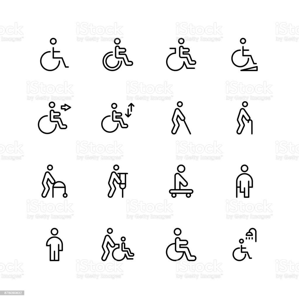 Disabled flat icon vector art illustration
