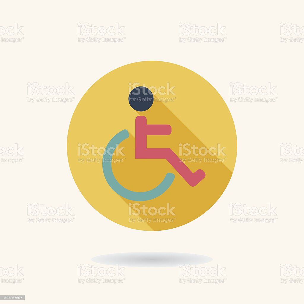 Disabled Flat long shadow icon vector art illustration