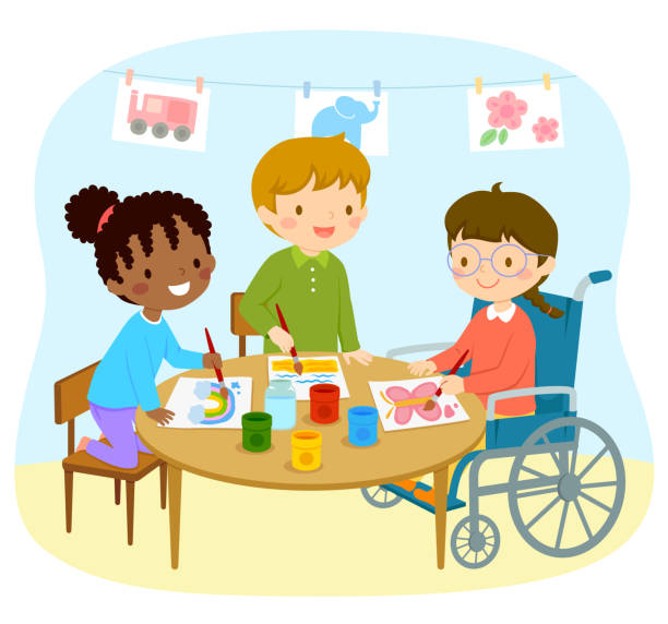 Disabled girl drawing with friends vector art illustration