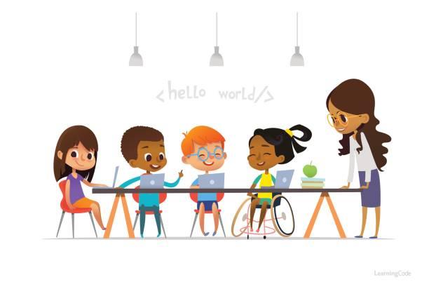 車椅子で他の子供たちのノート パソコンに座っていると、符号化情報学レッスン中に学習障害の女の子。学校のインクルーシブ教育のコンセプトです。広告のウェブサイトのためのベクトル図。 - 語学の授業点のイラスト素材/クリップアート素材/マンガ素材/アイコン素材