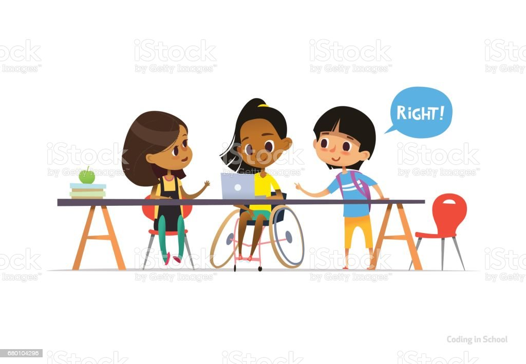 Disabled girl in wheelchair sitting at laptop with pair of school friends helping her to learn coding. Inclusive education concept. Vector illustration for website, advertisement, banner, poster. ベクターアートイラスト
