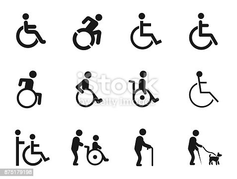 disabled handicap icons set, vector illustration on white background