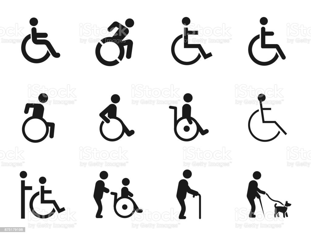 Disabled Handicap Icons vector art illustration