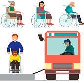 Disabled handicapped diverse people vector wheelchair invalid person help disability characters disable medical assistance illustration