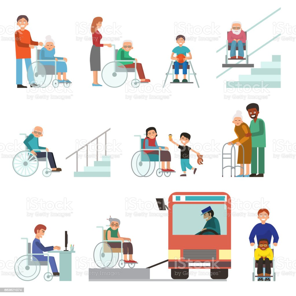 Disabled handicapped diverse people wheelchair invalid person help disability characters vector illustration vector art illustration