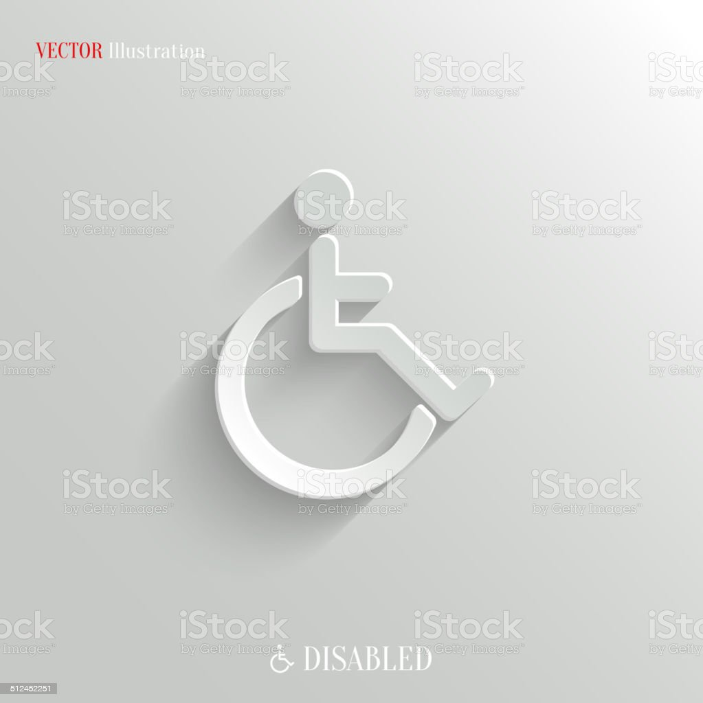 Disabled icon - vector white app button vector art illustration