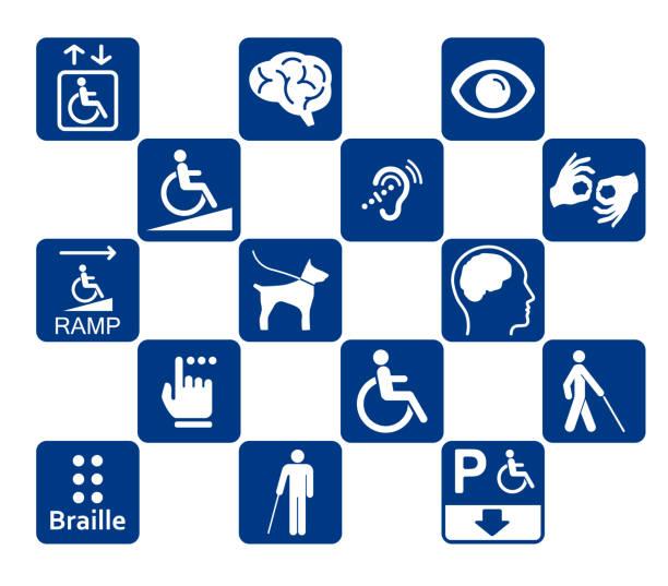 illustrazioni stock, clip art, cartoni animati e icone di tendenza di disabled icons - sordità