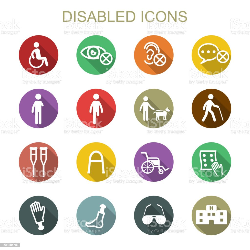 disabled long shadow icons vector art illustration