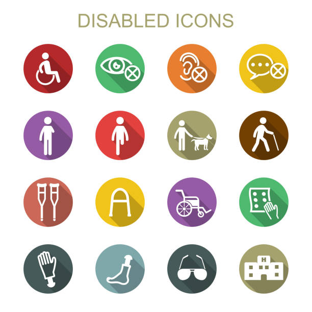 disabled long shadow icons - old man sunglasses stock illustrations, clip art, cartoons, & icons