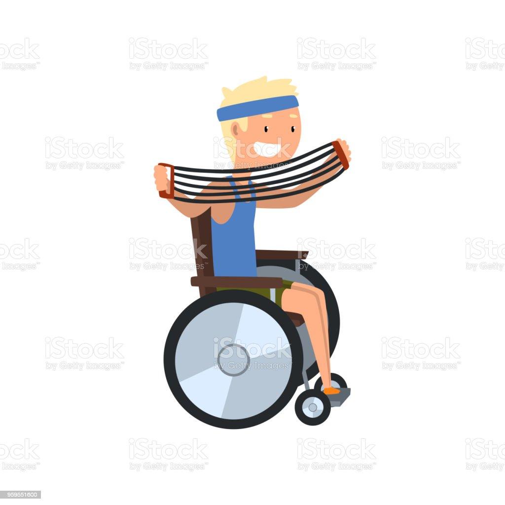 白い背景に車椅子肩エキスパンダー医学的リハビリテーション運動障害の人
