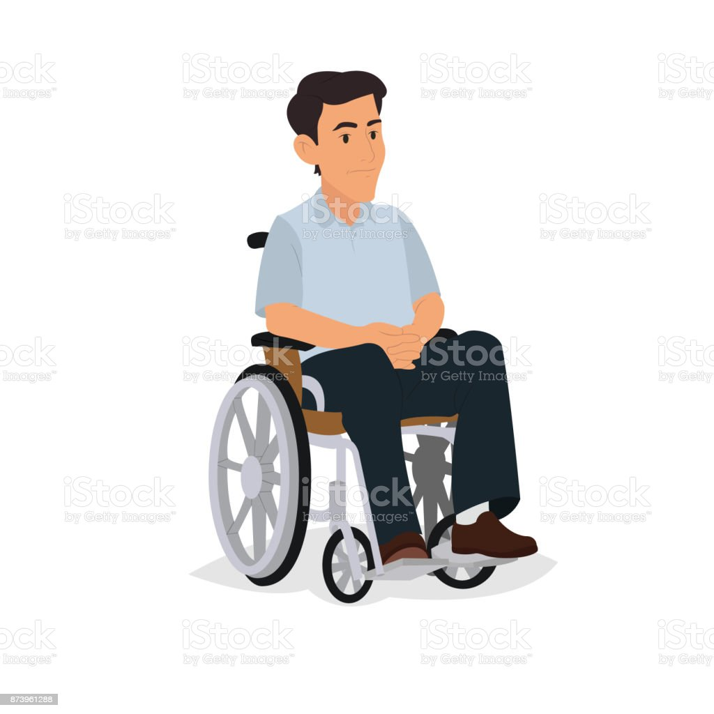 disabled man isolated on white background. vector art illustration
