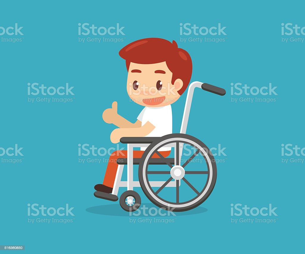Disabled man vector art illustration