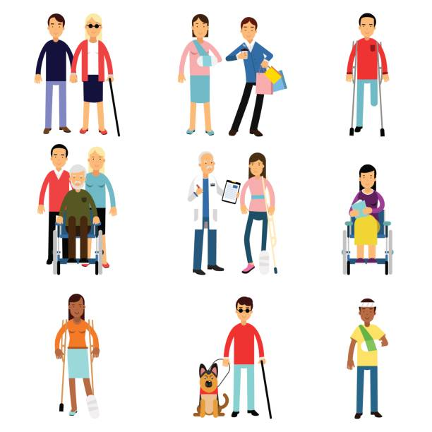 Disabled men and women characters getting medical treatment, health care assistance and accessibility vector Illustrations vector art illustration