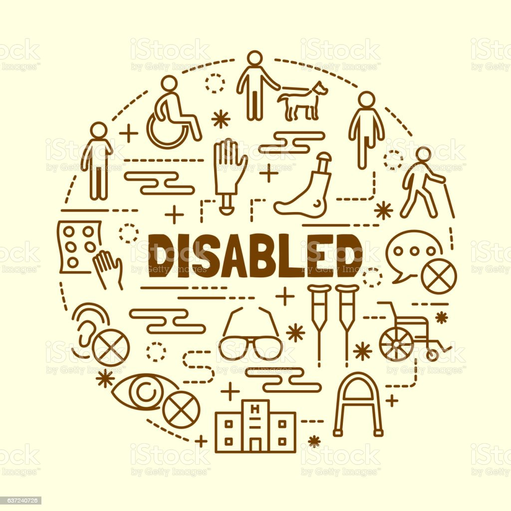 disabled minimal thin line icons set vector art illustration