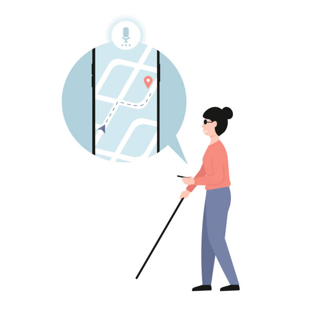 wyłączona koncepcja nawigacji, niewidoma dziewczyna z telefonem - store stock illustrations