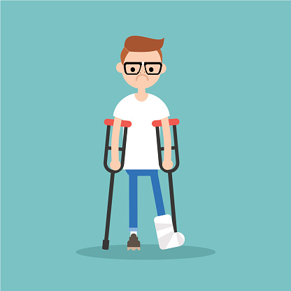 Disabled nerd on crutches with broken leg