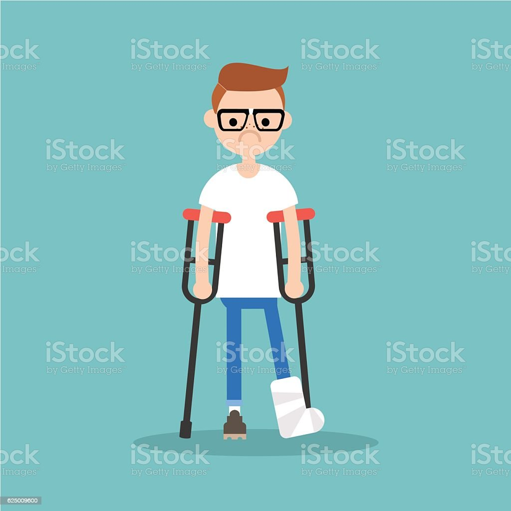 Disabled nerd on crutches with broken leg vector art illustration