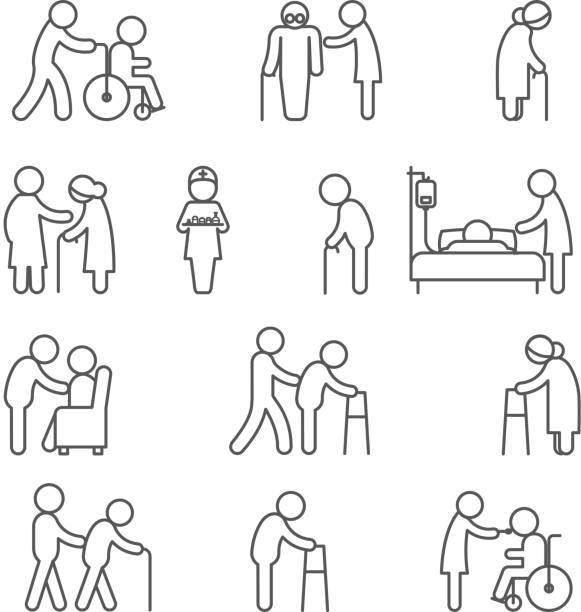 illustrazioni stock, clip art, cartoni animati e icone di tendenza di disabled nursing and healthcare icons - paziente