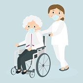 Disabled old woman and medical worker in medical masks. Handicapped senior woman in a wheelchair. Special needs woman. Elderly care. Vector illustration.