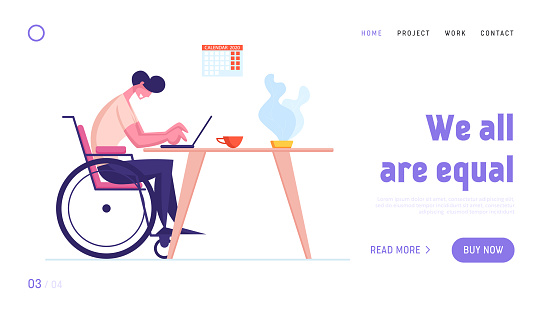 Disabled Online Income Landing Page Template. Man Sit on Wheelchair Working on Laptop. Handicapped Male Character Freelance Worker Earning Money in Internet, Distant Job. Cartoon Vector Illustration