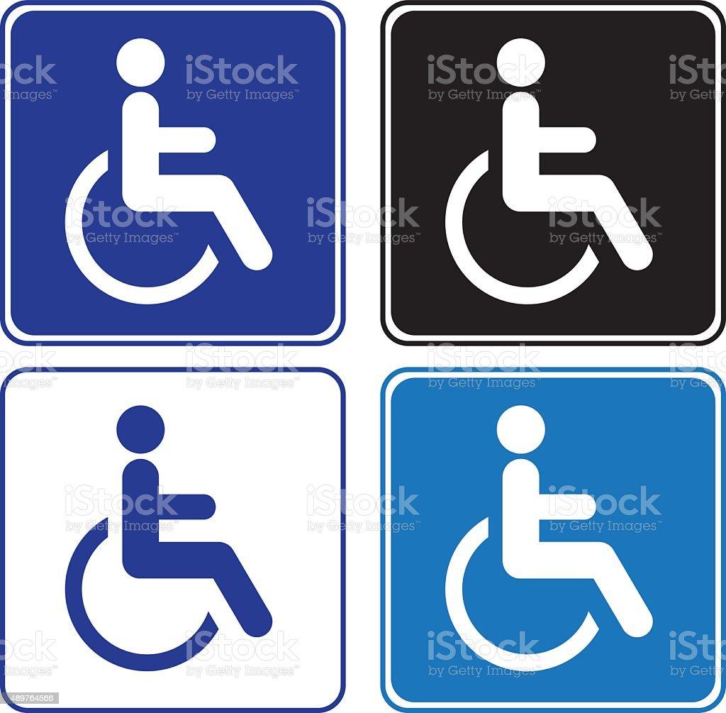 disabled or handicap signs vector art illustration