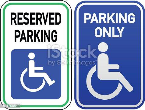 Vector wheelchair symbol on parking placard.