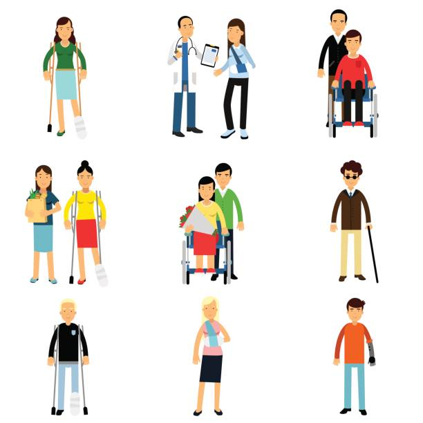 Disabled people characters, handicapped men and women getting medical treatment, health care assistance and accessibility vector Illustrations vector art illustration