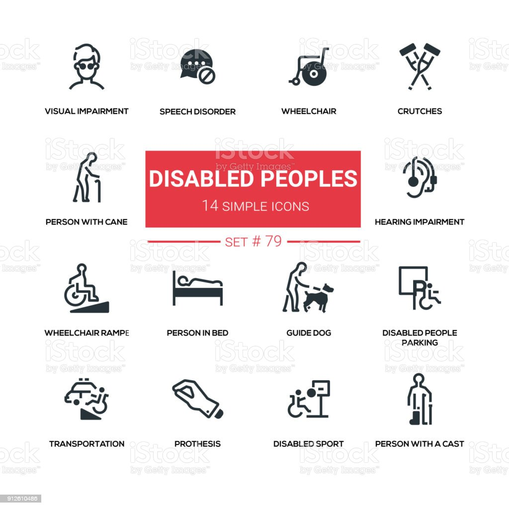 Disabled people - line design silhouette icons set vector art illustration