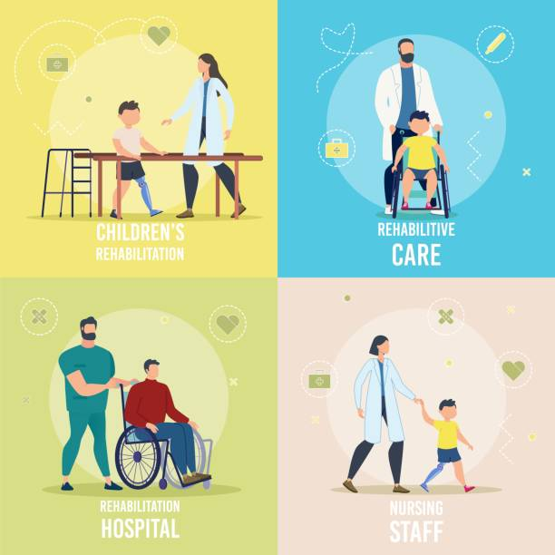 Disabled People Rehabilitation Vector Concept Set Disabled Children and Adults Rehabilitation in Hospital, Rehabilitative Care, Nursing Staff Trendy Flat Vector Square Concepts Set. Medical Professionals Helping People with Disabilities Illustration Rehabilitative services stock illustrations
