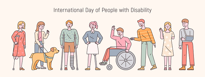 Disabled people stand in a line with bright expressions.