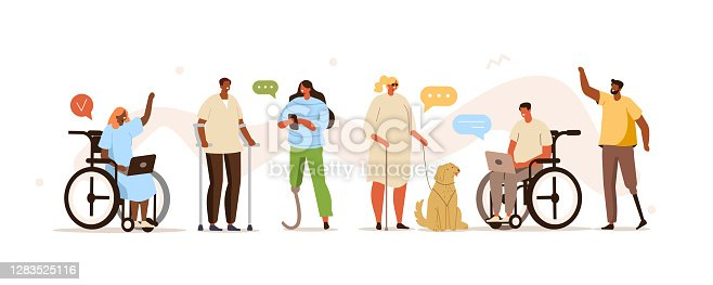 Disabled Diversity People Working Together. Handicapped Characters and Persons in Wheelchairs using Smartphones, Laptops and Communicating. Flat Cartoon Vector Illustration.