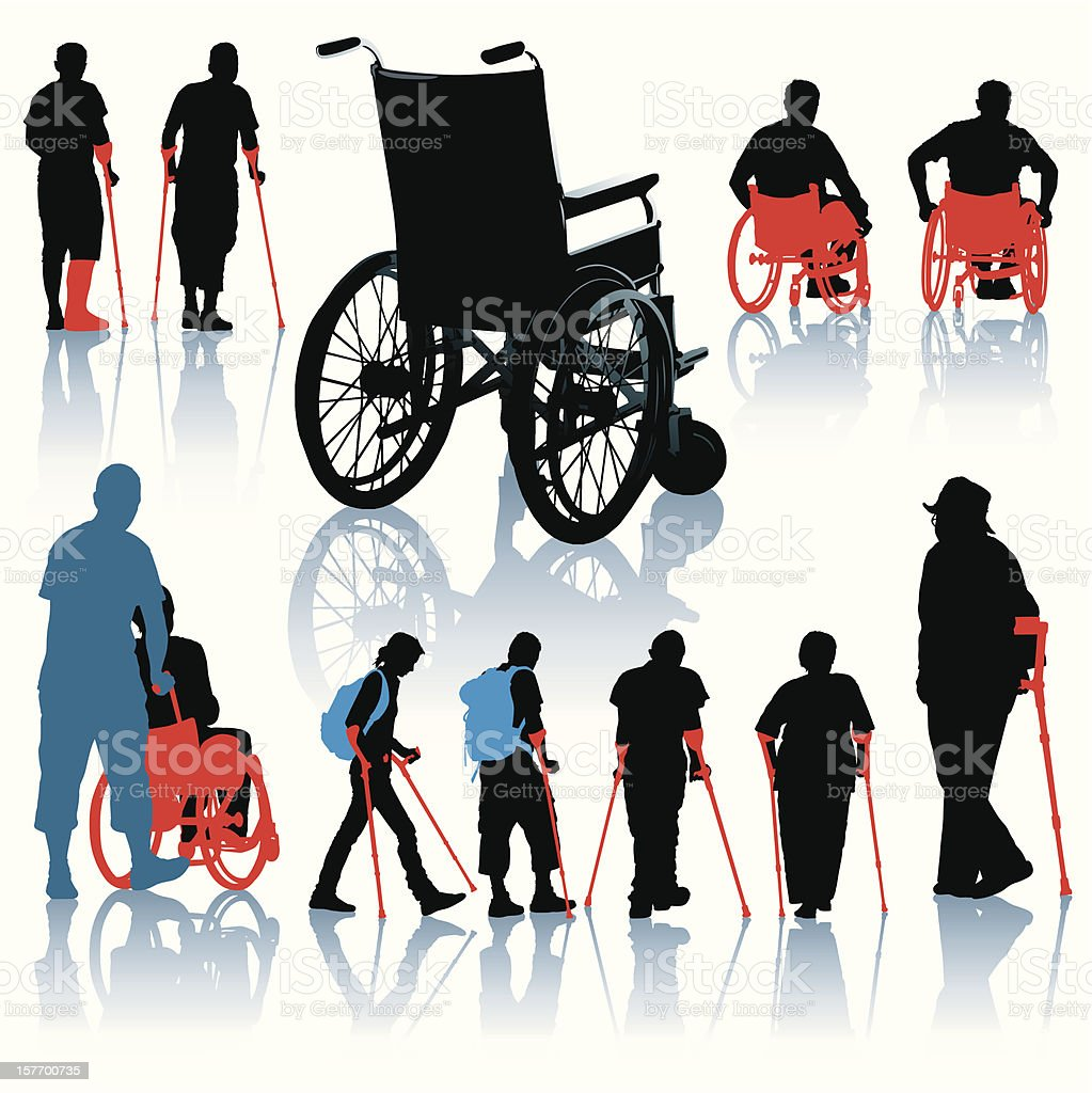 Disabled people vector art illustration